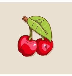 Two cute hand-drawn cherry vector image vector image