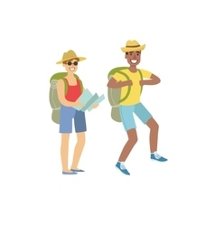 Two People Hiking With Map vector image vector image