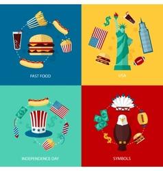 USA flat set vector image