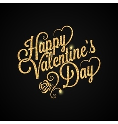 valentines day vintage lettering golden background vector image vector image