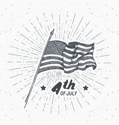 vintage label hand drawn usa flag happy vector image