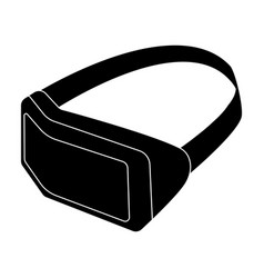 Virtual reality headset icon in black style vector