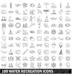 100 water recreation icons set outline style vector