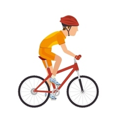 Cyclist man riding sport bike vector