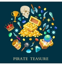 Pirate treasure isometric icons set vector