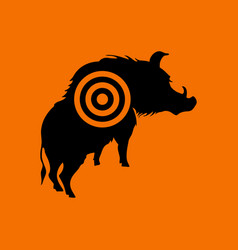 Boar silhouette with target icon vector