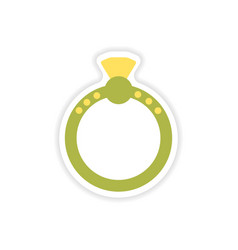 Stylish paper sticker on white background ring vector