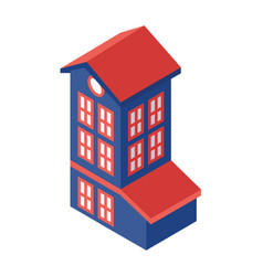 Isometric tall building object or icon - web vector