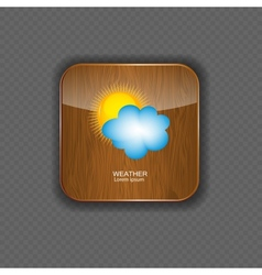 Weather wood application icons vector