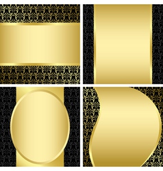 golden and black decorative cards - set vector image