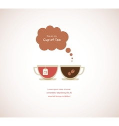 Coffee and tea cups on valentines card vector