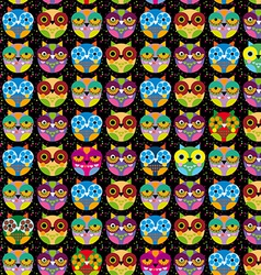 Seamless pattern with bright colored owl on a vector