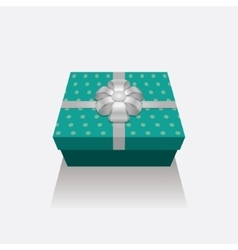 3d gift box presents with silver ribbon bow vector