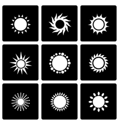 Black sun icon set vector