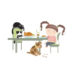 Dinner with pets vector