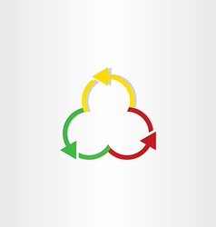 Red green and yellow arrows recycling symbol vector
