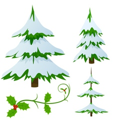 Snow covered fir trees vector