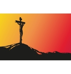 Jesus christ crucifiction hand drawn vector
