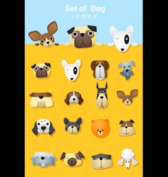 Set of cute dog icons vector