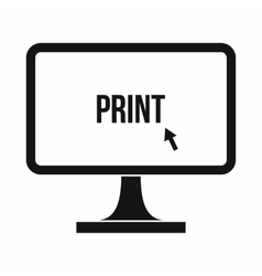 Print word on a computer monitor icon vector
