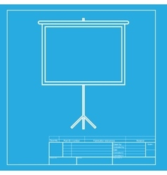 Blank projection screen white section of icon on vector