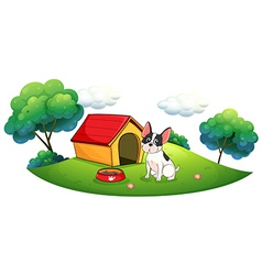 A dog outside its dog house vector image vector image