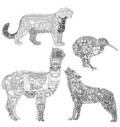 Animals with ethnic pattern vector