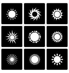 Black sun icon set vector