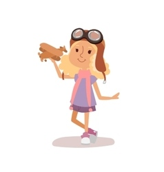 Cartoon kid playing pilot aviation vector