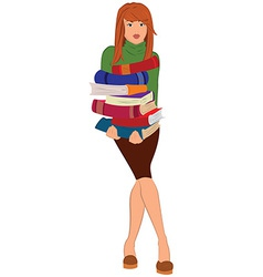 Cartoon young woman holding stack of books vector image