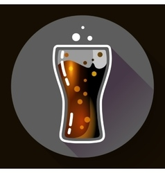 Cola splash or soda glass with bubbles icon flat vector image