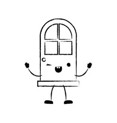 door icon monochrome cartoon blurred silhouette vector image