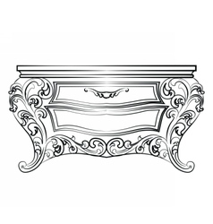 Elegant table with drawers rich ornamented vector