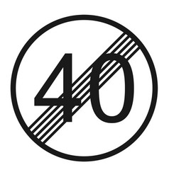 End maximum speed limit 40 sign line icon vector