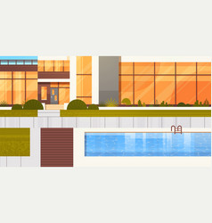 entrance to luxury villa or hotel with swimming vector image