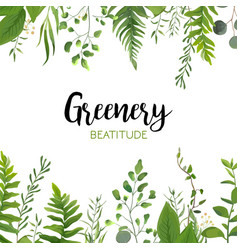 Floral greenery card design with green leaves vector