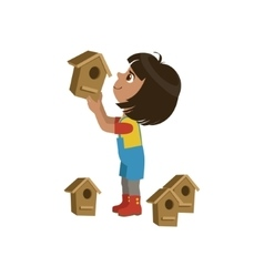 Girl installing bird houses vector