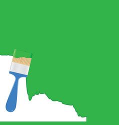 Green background with paintbrush vector