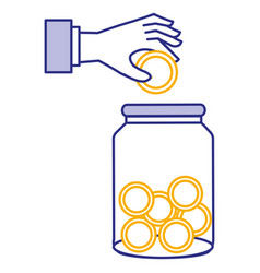 Hand saver with glass jar and coins money vector