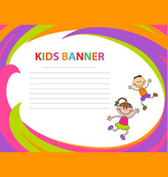 Happy children run on the banner template vector