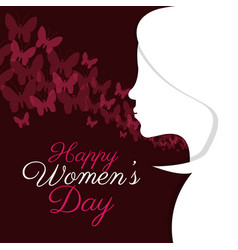 Happy womens day girl silhouette vector