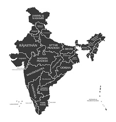 India map with labels black vector image vector image