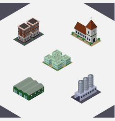 Isometric building set of chapel warehouse water vector