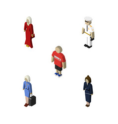 Isometric person set of seaman female vector