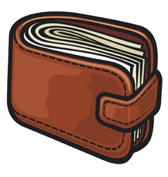 leather wallet with the money vector image vector image