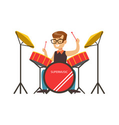 Little boy playing drums little drummer colorful vector