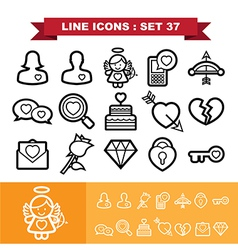 Love lne icons set 37 vector image vector image