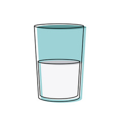 Milk in a glass healthy drink nutrient liquid vector