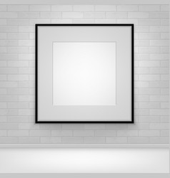 mock up poster picture black frame on brick vector image vector image