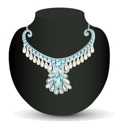 necklace womens wedding with precious stones vector image vector image